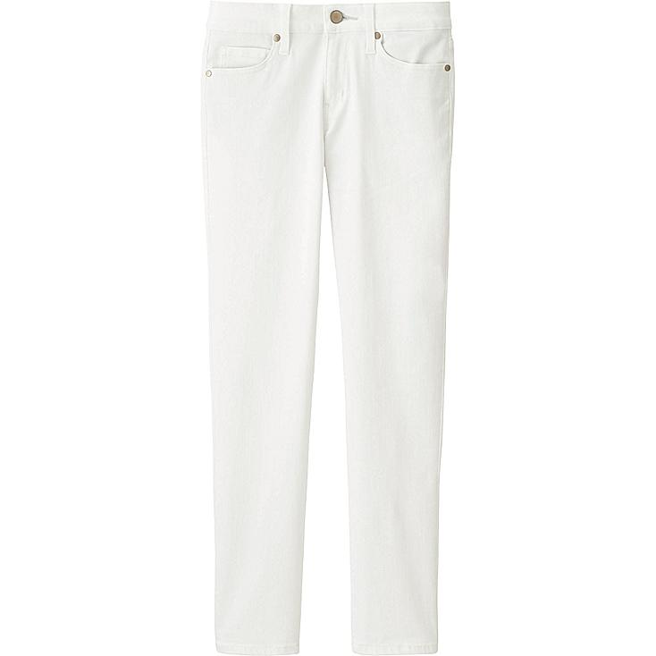 WOMEN ULTRA STRETCH ANKLE JEANS, WHITE, large