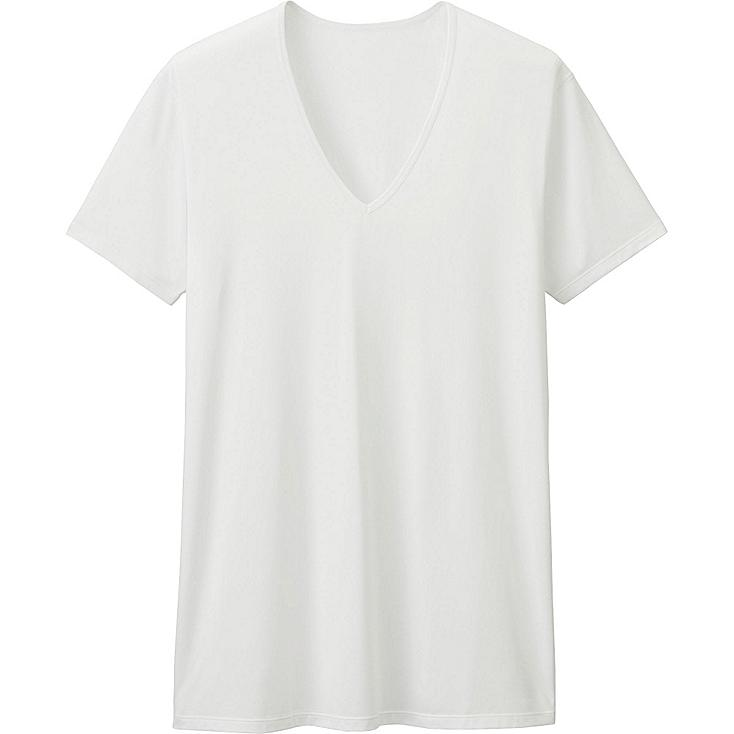 MEN AIRism V-NECK T-SHIRT (SHORT SLEEVE), WHITE, large