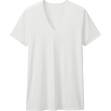 MEN AIRism V-NECK T-SHIRT (SHORT SLEEVE), WHITE, medium
