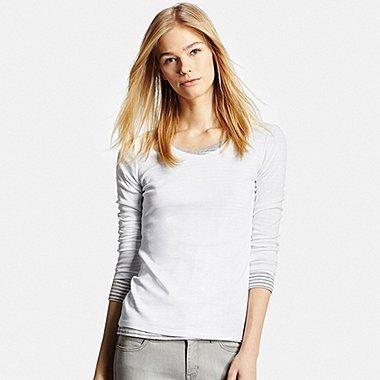 Womens Supima® Cotton Crewneck Long Sleeve T-Shirt, WHITE, medium