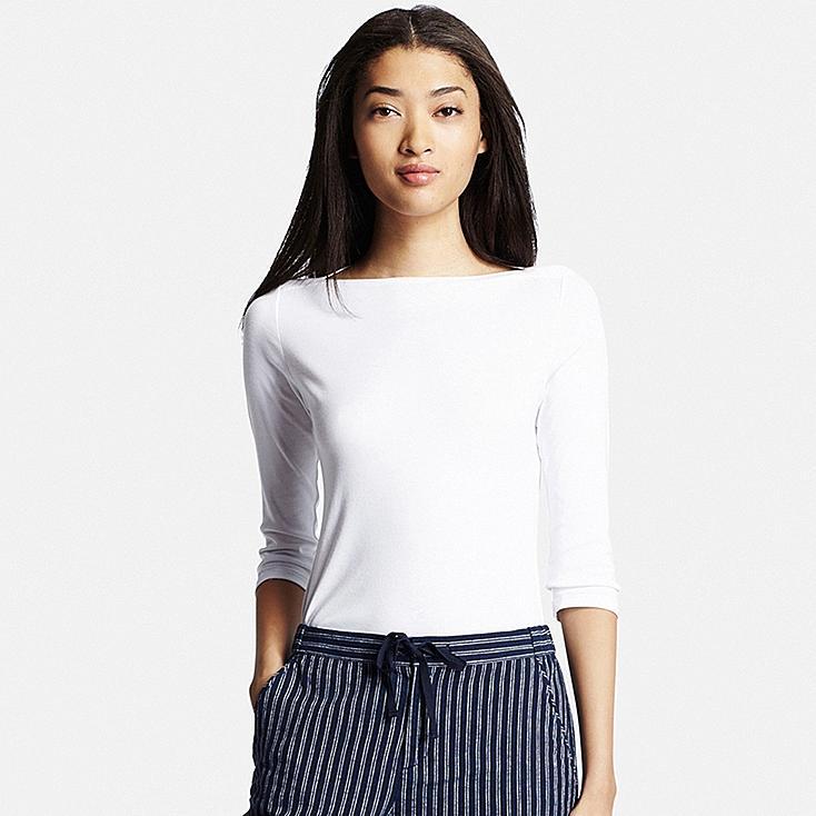 Women 39 s supima cotton 3 4 sleeve boat neck t shirt for Boat neck t shirt women s