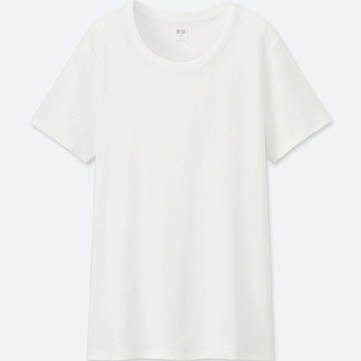 Women's Supima® Cotton Crew Neck T-Shirt, WHITE, large