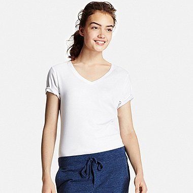 Womens Supima® Cotton V-Neck T-Shirt, WHITE, medium