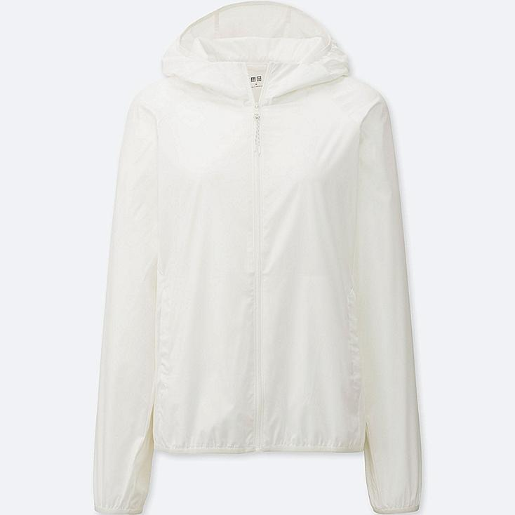 Women's Lightweight Packable Hooded Jacket, WHITE, large