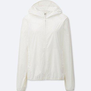 Womens Lightweight Packable Hooded Jacket, WHITE, medium