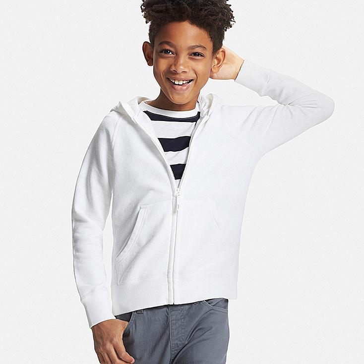 Boys Zip-Up Hoodie, WHITE, large