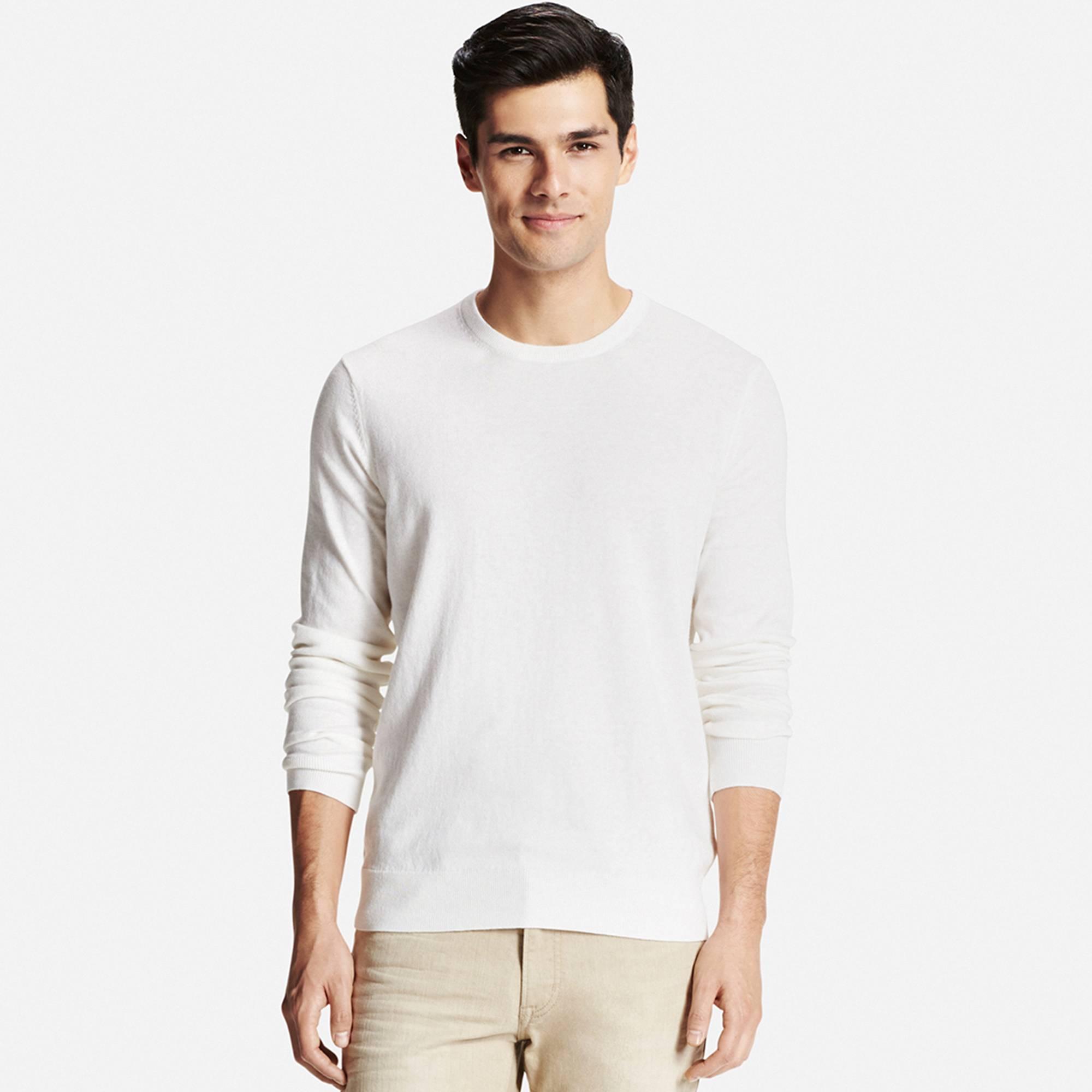 Men's Cotton Cashmere Crew Neck Sweater | UNIQLO US