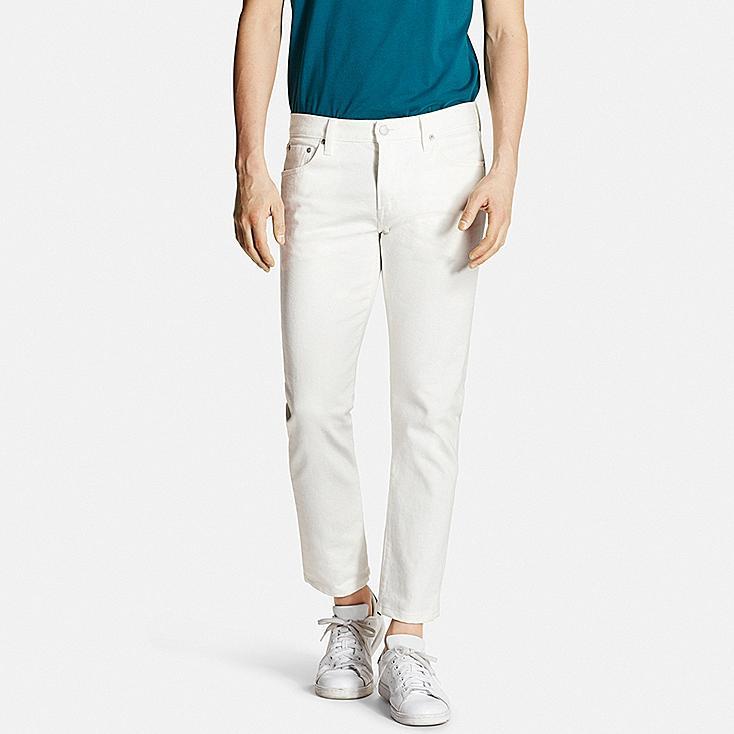 Men's Selvedge Slim-Fit Jeans, WHITE, large