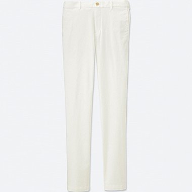 Mens Flat Front Slim-Fit Chino Pants, WHITE, medium