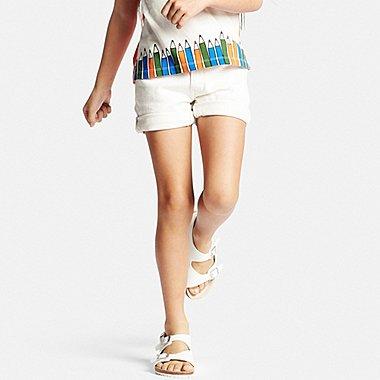 GIRLS Denim Shorts, WHITE, medium