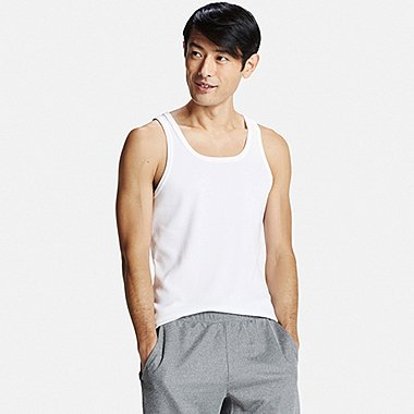Mens DRY Colored Rib Tank Top, WHITE, medium