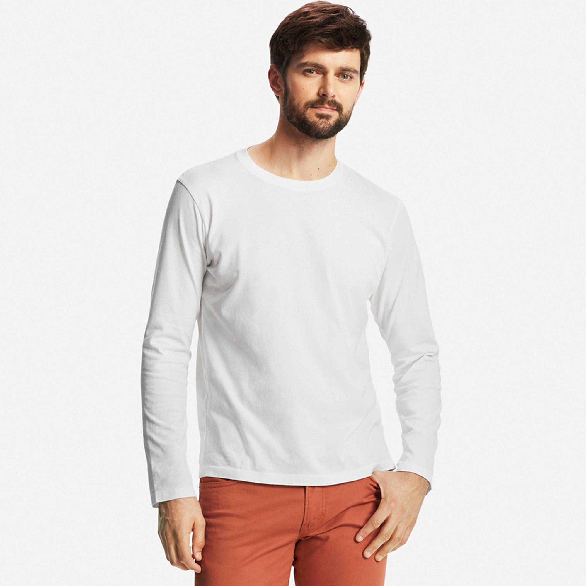 Men's Supima® Cotton Long Sleeve Crew Neck T-Shirt | UNIQLO US