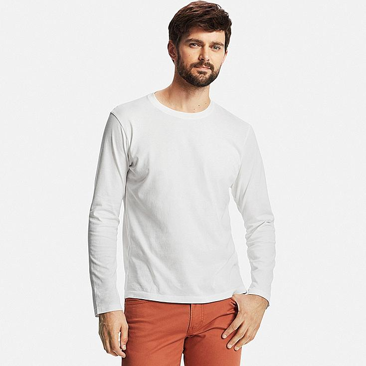 Men 39 s supima cotton long sleeve crew neck t shirt uniqlo us for Mens long sleeve white t shirt