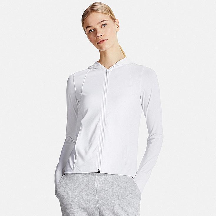 Women AIRism UV Cut Mesh Zip-Up Hoodie, WHITE, large