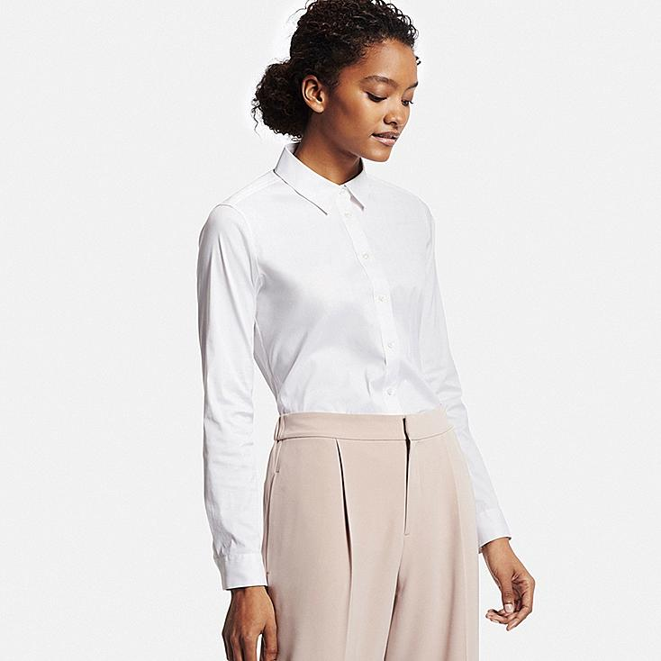 Women Supima® Cotton Stretch Dress Shirt, WHITE, large