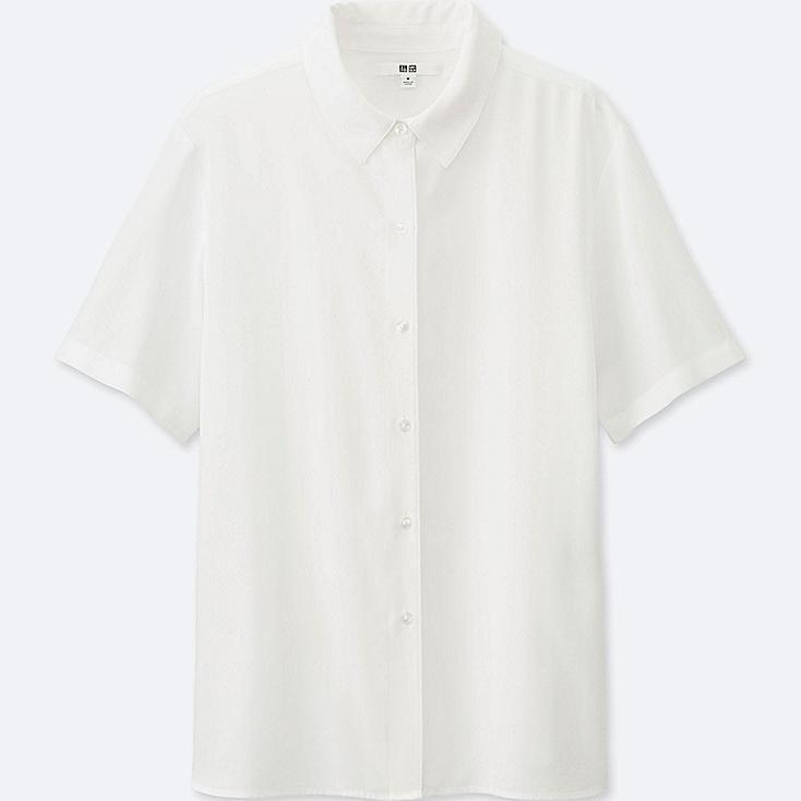 Women's Short Sleeve Blouse, WHITE, large