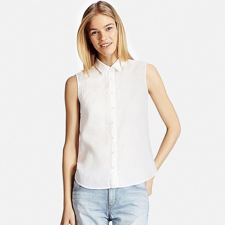 Beautiful Women Premium Linen Sleeveless Shirt | UNIQLO US UM68