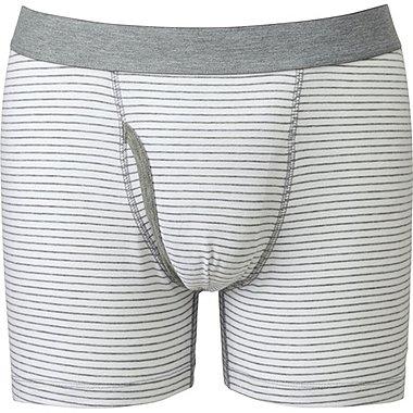 Mens Supima® Cotton Striped Boxer Briefs, WHITE, medium