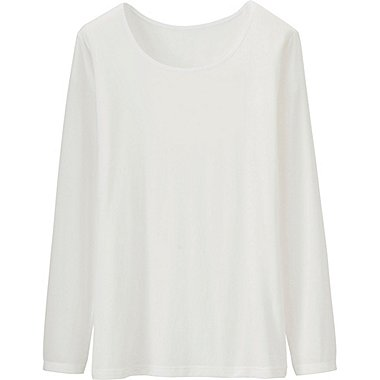 Womens AIRism Crew Neck T-Shirt, WHITE, medium