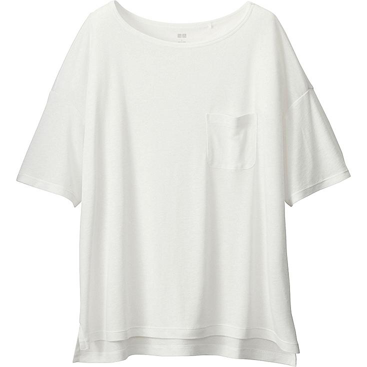 Women's Modal Linen Boxy T-Shirt, WHITE, large