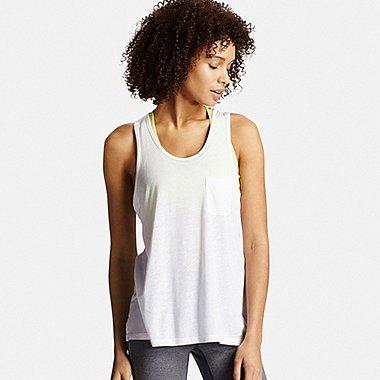 Womens Modal Linen Tank Top, WHITE, medium
