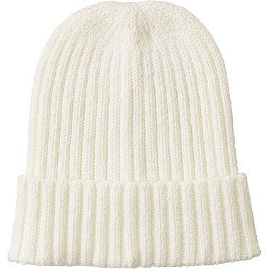 Mens Knitted Cap, WHITE, medium