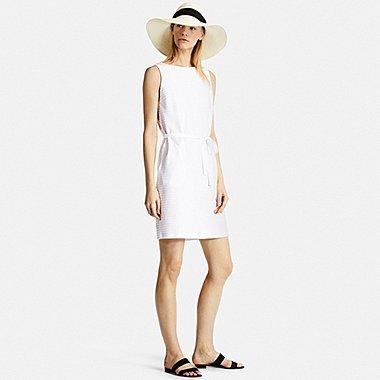 Womens Jacquard Sleeveless Dress, WHITE, medium