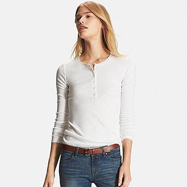 d7ff6e327 Women's Supima® Cotton Long Sleeve Henley Neck T-Shirt   UNIQLO US