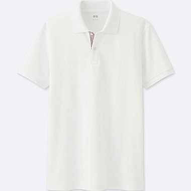 MENS DRY PIQUE PATTERNED PLACKET POLO SHIRT, WHITE, medium