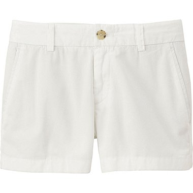 Womens Chino Micro Shorts, WHITE, medium
