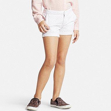 Girls Eyelet Shorts, WHITE, medium