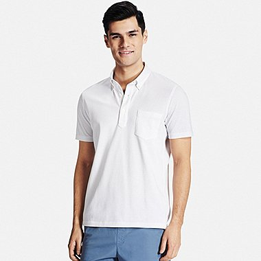 Men DRY COMFORT Button-Down Collar Polo Shirt, WHITE, medium