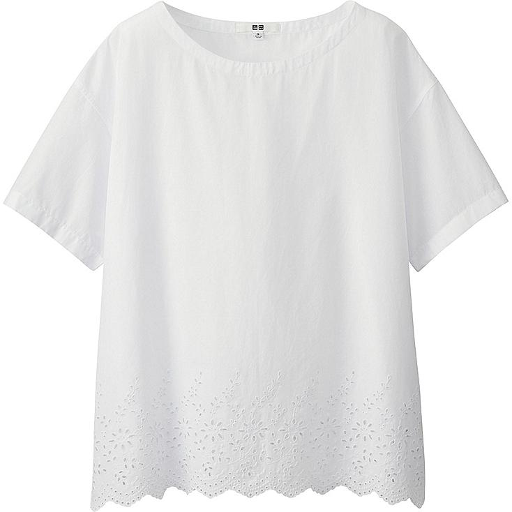 Women EYELET HEM SHORT SLEEVE BLOUSE, WHITE, large