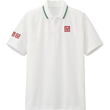 Mens Kei Nishikori DRY-EX Polo Shirt 16WB, WHITE, medium