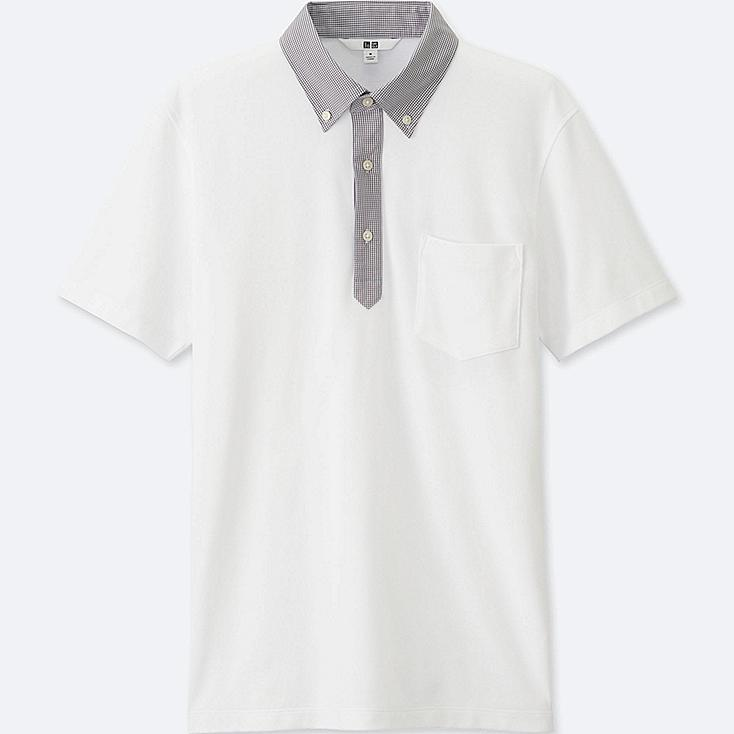 Men DRY COMFORT Button-Down Collar Polo Shirt, WHITE, large