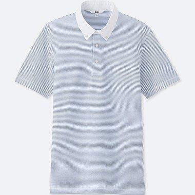 Mens DRY Button-Down Collar Polo Shirt, WHITE, medium