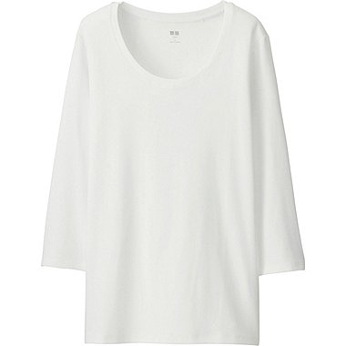 T-Shirt Col Rond En Coton Supima Manches 3/4 FEMME