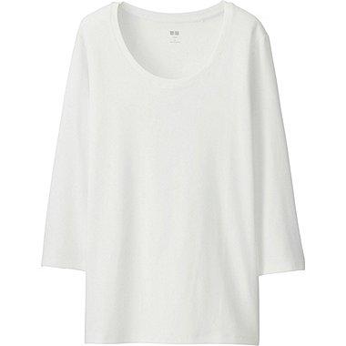 Women Supima® Cotton 3/4 Sleeve Crew Neck T-Shirt, WHITE, medium