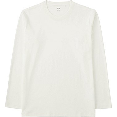 MEN SOFT TOUCH CREWNECK LONG SLEEVE T-SHIRT, WHITE, medium