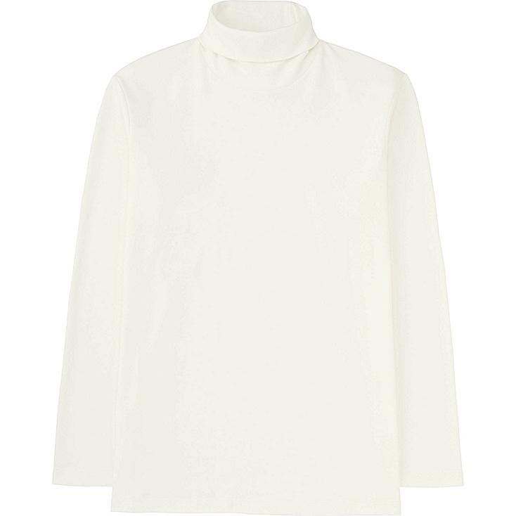 MEN SOFT TOUCH TURTLENECK LONG SLEEVE T-SHIRT, WHITE, large