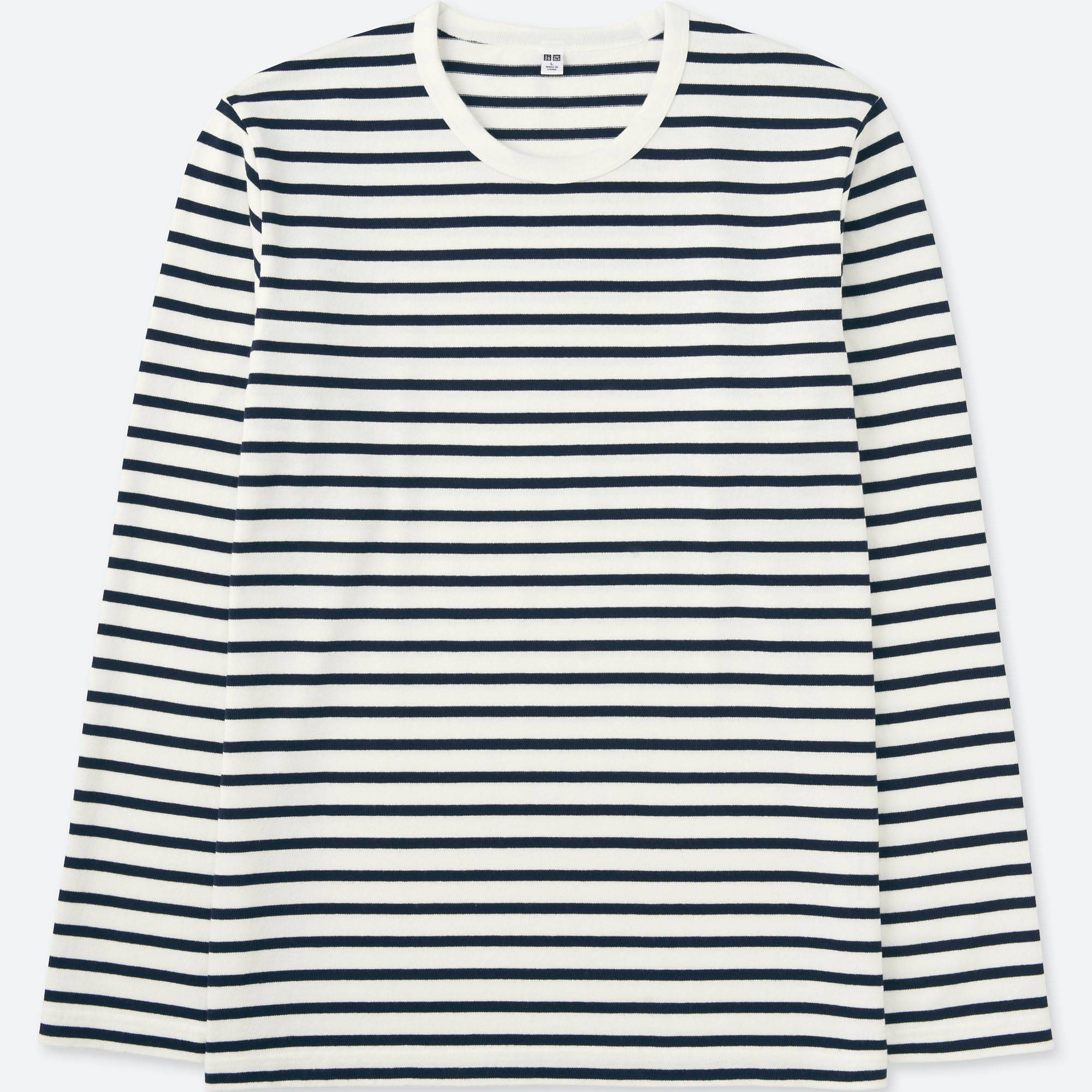 Men Washed Striped Crewneck Long Sleeve T Shirt White Large Opens A New Window