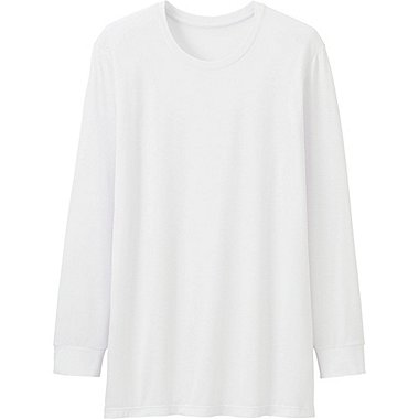 MEN HEATTECH CREWNECK T-SHIRT (LONG SLEEVE), WHITE, medium