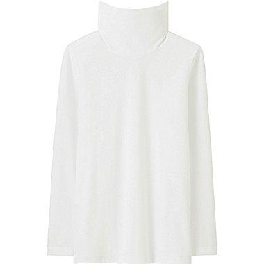 Kids HEATTECH Long Sleeve Turtleneck T-Shirt, WHITE, medium