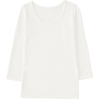 TODDLER HEATTECH U-NECK LONG SLEEVE T-SHIRT, WHITE, medium