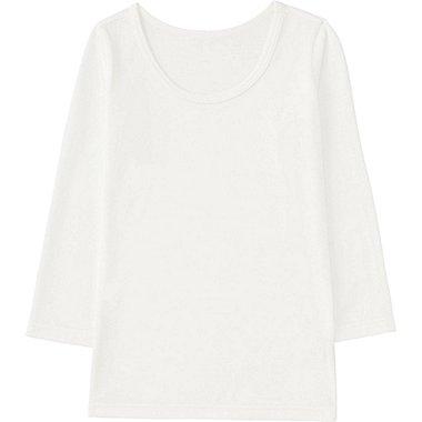TODDLER HEATTECH U-NECK LONG SLEEVE T-SHIRT, WHITE, medium