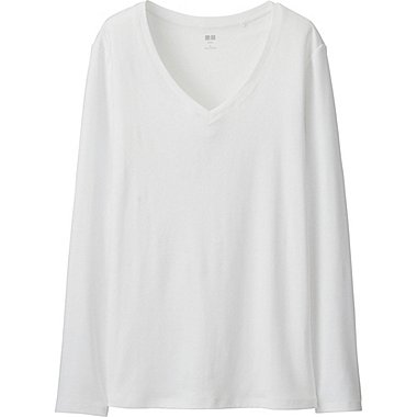 WOMEN Supima Cotton V Neck Long Sleeve T