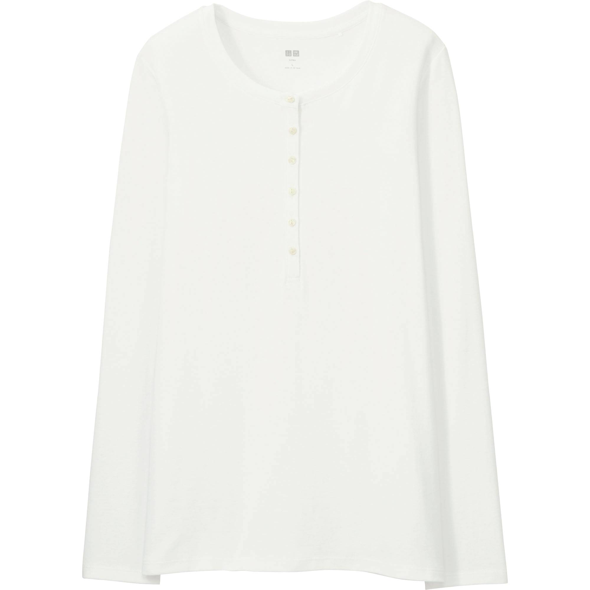 WOMEN Supima® COTTON HENLEY NECK LONG SLEEVE T | UNIQLO US