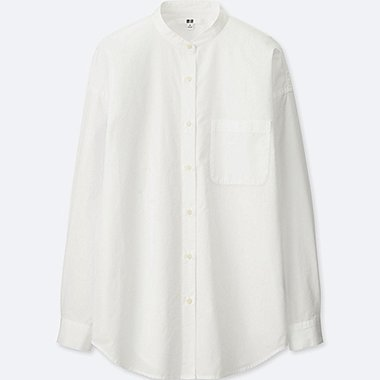 WOMEN EXTRA FINE COTTON OVERSIZED STAND COLLAR L/S SHIRT, WHITE, medium
