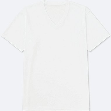 MEN PACKAGED DRY V-NECK SHORT SLEEVE T-SHIRT, WHITE, medium