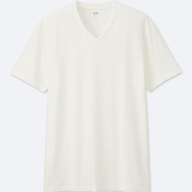 MEN SUPIMA COTTON V-NECK SHORT SLEEVE TEE, WHITE, medium